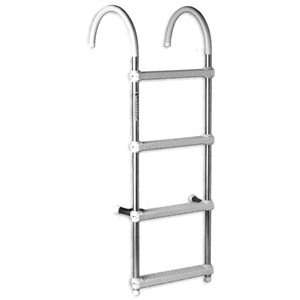 4 step white galvalume fixed dock ladder