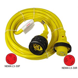 30A Extension Cord Shore Power Cable 12'