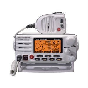 class d vhf with built-in dual channel ais receiver, 30w pa / fog and ram3 capable, white