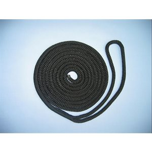 "double braided nylon dock line 3 / 8"" x 15' black"