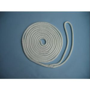 "double braided nylon dock line 3 / 8"" x 20' white"