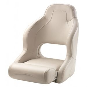 deluxe white on white flip-up bolster style bucket seat