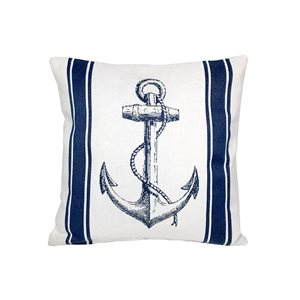 Cushion with Anchor (white / blue)