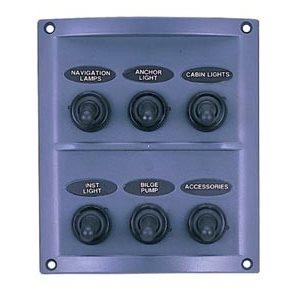 6 switches splashproof panel grey