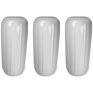 RIBBED CENTER FENDER WHITE. 3-pk, 6'' x 15''