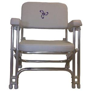 chaise pliante blanche en aluminium avec appuie-bras