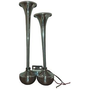 klaxon trompette double inox