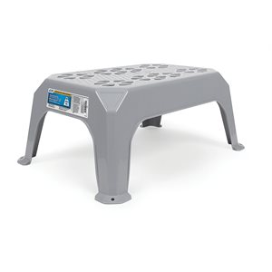 step stool, plastic, large gray