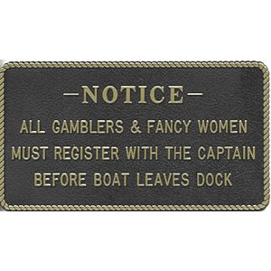 "PLAQUE ""GAMBLERS & FANCY WOMEN"""