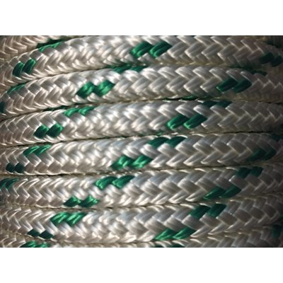 """double braided polyester rope 5 / 16"""" with green trace"""