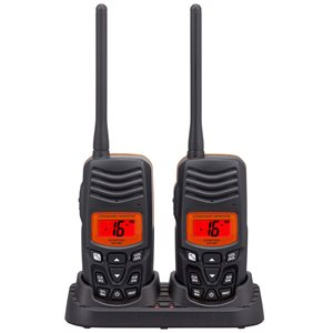 standard horizon hx100 handheld vhf marine radio, set of two.