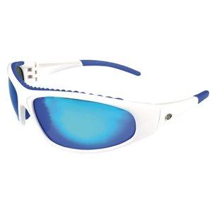"""lunette de soleil """"wahoo"""" à monture blanche, verre bleu effet miroir"""