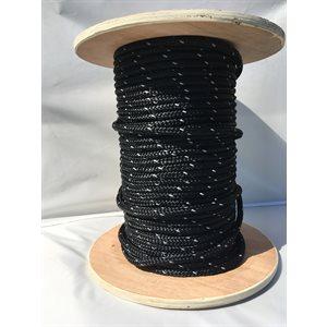 """cablot nylon tressé noir 3 / 8"""" av. bande de reflexion"""